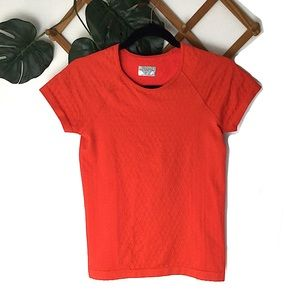 Athleta Orange Stretchy Workout Tee Shirt Small